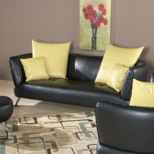Chintaly Palo Alto Black Leather Sofa with Accent Pillows contemporary-sofas