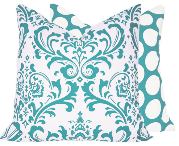 "Turquoise Mist 18x18"" Pillow l Chloe and Olive traditional-decorative-pillows"
