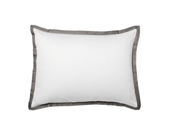 Serena & Lily - Pewter Border Frame Sham - For those who crave a quieter bed, this beautiful layering piece allows you to start simple and add on as you desire. Dial it up with sheets in a bold color and pattern, or keep it clean and classic whatever suits your style.