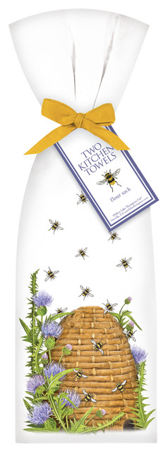 Beehive with Thistle Towel Set traditional-dish-towels