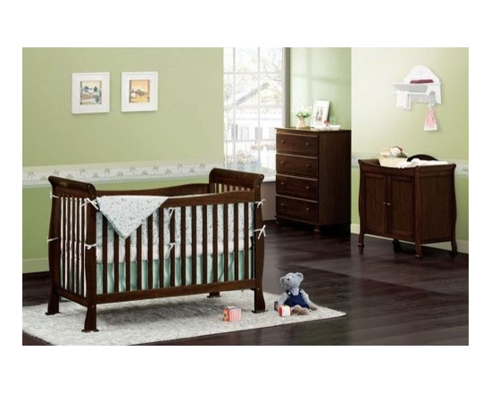 DaVinci - Reagan Three Piece Convertible Crib Nursery Set with Toddler Rail in Coffee - The Reagan Convertible Crib Set adds a touch of elegance to any nursery with its popular sleigh style. Carefully engineered to evolve in form and function, the Reagan Crib is designed for your child as they grow from infant, to toddler, to youth. Convert the crib to a toddler bed with a safety guard rail included or remove the safety guard rail for a charming day bed, perfect for any playroom. Complete your DaVinci nursery with any of the Parker case pieces to add sophistication to your childs bedroom. Features: -4-in-1 Reagan Crib, Toddler Rail, 2-Door Parker Changer & Parker 4-Drawer Dresser included in set. -Coffee color. -Made of New Zealand Pine wood from sustainable forests. -4 level mattress spring system to adjust to your child's growth. -Toddler rail included. -JPMA certified. -Assembly instructions included. -Meets and exceeds federal safety regulations. -Non-toxic finish. -Optional matching conversion rail available to convert crib into full size bed. -This is a NON-Drop Side crib.