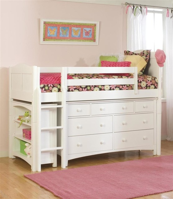 essex cottage low twin loft bed w dresser bookcase in white finish contemporary kids beds. Black Bedroom Furniture Sets. Home Design Ideas