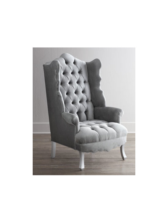 """Haute House - Haute House """"Isabella"""" Chrome Wing Chair - Exclusively ours. Everything about this wing chair—its gracefully scalloped back, wings, and apron; tufting on the inside back; gently curved legs—whispers glamour. American benchmade in Los Angeles. Alder wood frame. Rayon upholstery. H..."""