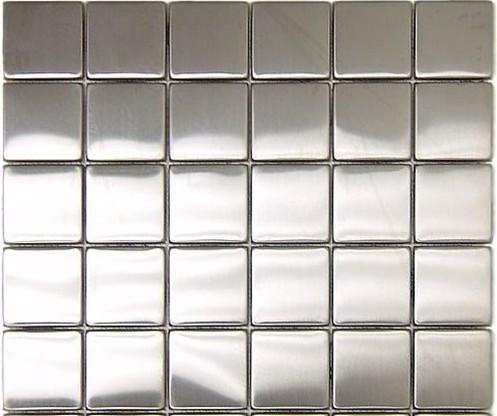 "Stainless Steel Backsplash Polished Mesh-Mounted Metal Mosaic Tile, 2"" x 2"" contemporary-tile"