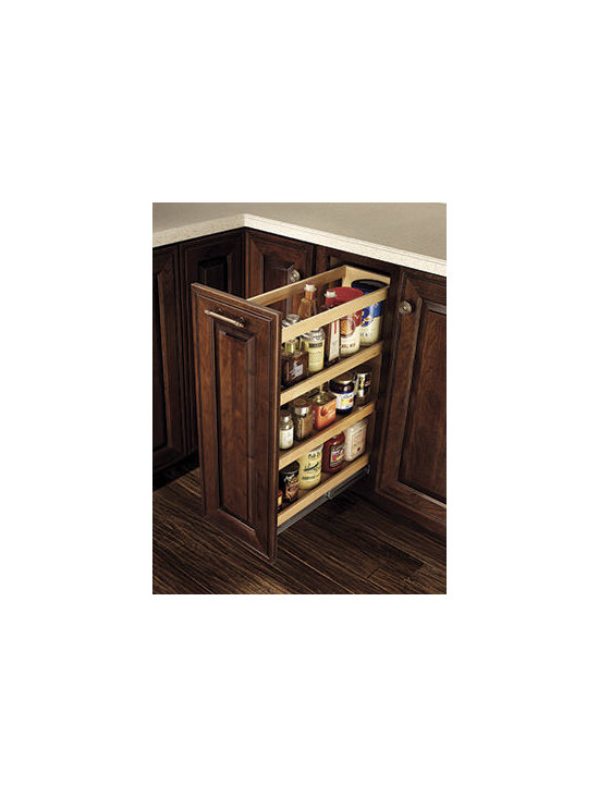Merillat Masterpiece® Base Pantry Pull-out - Three shelves on full-extension runners offer easy access to spices and other small items.