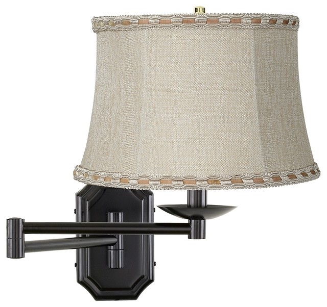 Lamp Shades For Wall Swing Arm : Traditional Beige Ribbon Shade Bronze Plug-In Swing Arm Wall Lamp - Traditional - Lamp Shades ...