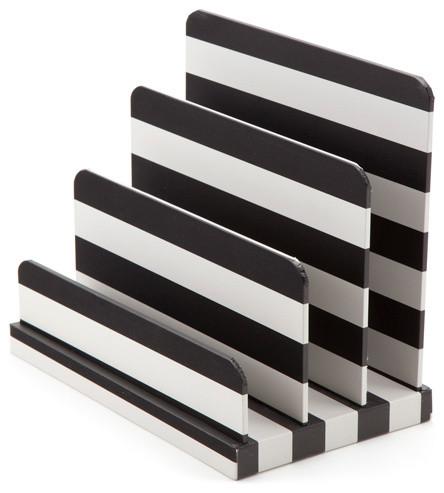 Paperboard Letter Sorter Black White Stripe Modern