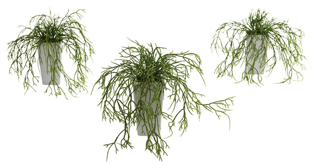 Wild Grass w/White Vase (Set of 3) transitional-artificial-flowers