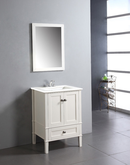 Windham Soft White 24 Inch Bath Vanity With 2 Doors Bottom Drawer And White
