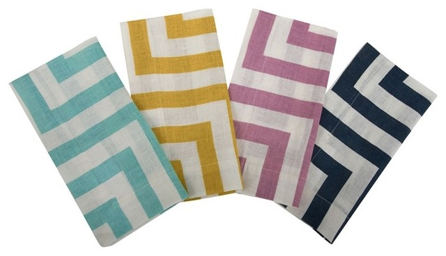 Herringbone Printed Linen Napkins in Various Colors by Simrin eclectic-napkins