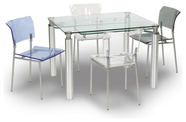 Extendable Clear Glass Top Modern Dining Set