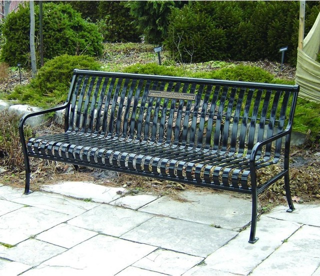 Paris Equipment Premier Steel Commercial Park Bench 71083100 Brown Contemporary Outdoor