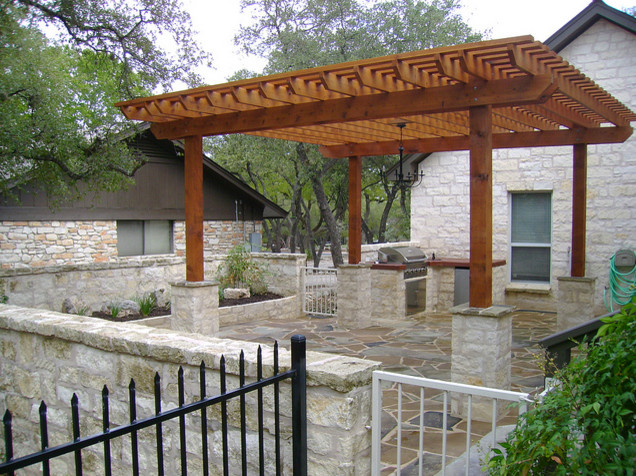 Wimberley outdoor kitchen and pergola Outdoor kitchen designs with pergolas