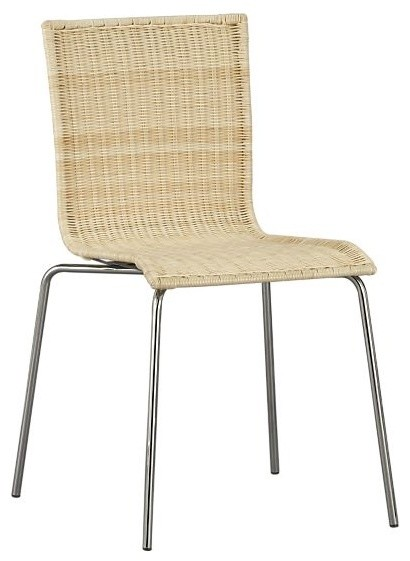 Rattan dining chair with chrome legs eclectic dining chairs other metro by rebekah - Wicker dining chairs ikea ...