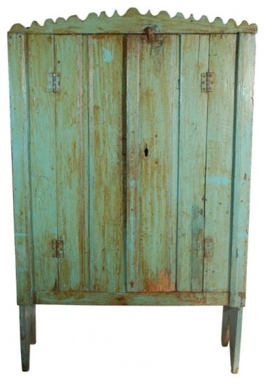 Antique Guatemalan Painted Cabinet rustic-storage-cabinets