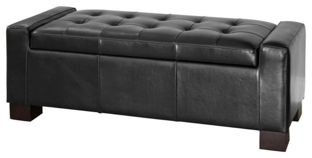 Black Tufted Leather Storage Ottoman traditional-footstools-and-ottomans