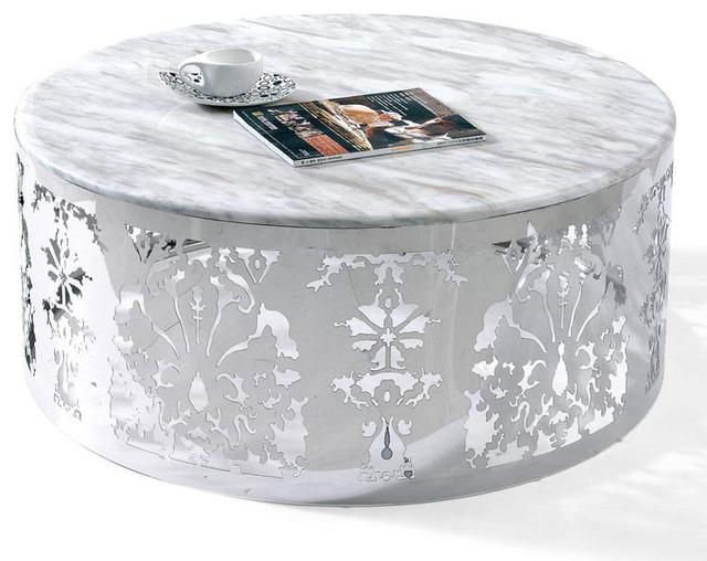Modern Chrome And White Round Coffee Table Lorenzo