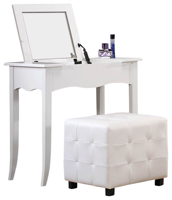 Homelegance Sparkle Vanity Desk With Lift Top Mirror In White Traditional