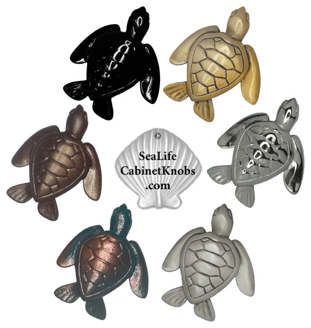 Turtle Cabinet and Drawer knobs - Beach Style - orlando - by Sea Life Cabinet Knobs by Peter ...