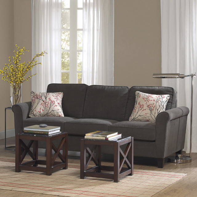 Griffin charcoal sofa contemporary sofas by for Charcoal sofa living room ideas