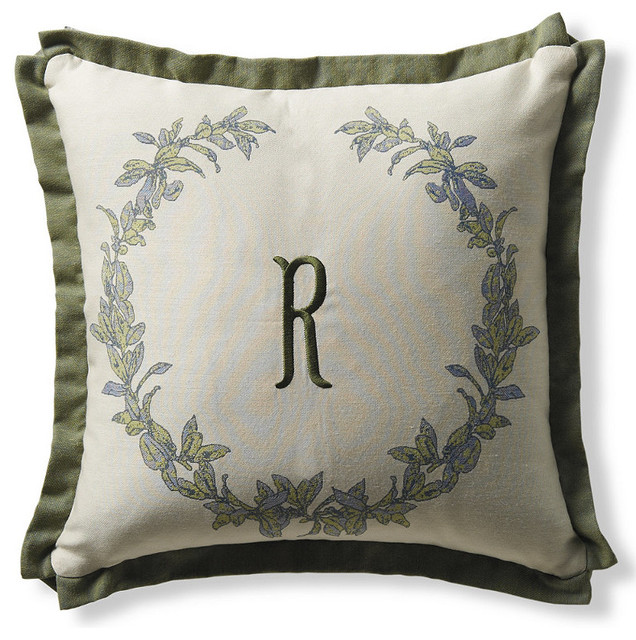 Victor Wreath Outdoor Throw Pillow in Palm traditional-outdoor-cushions-and-pillows