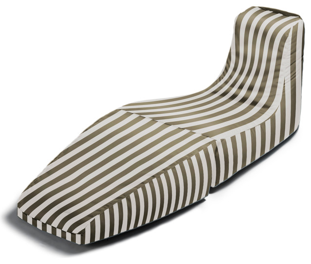 Prado outdoor bean bag lounger taupe stripes for Bean bag chaise lounge