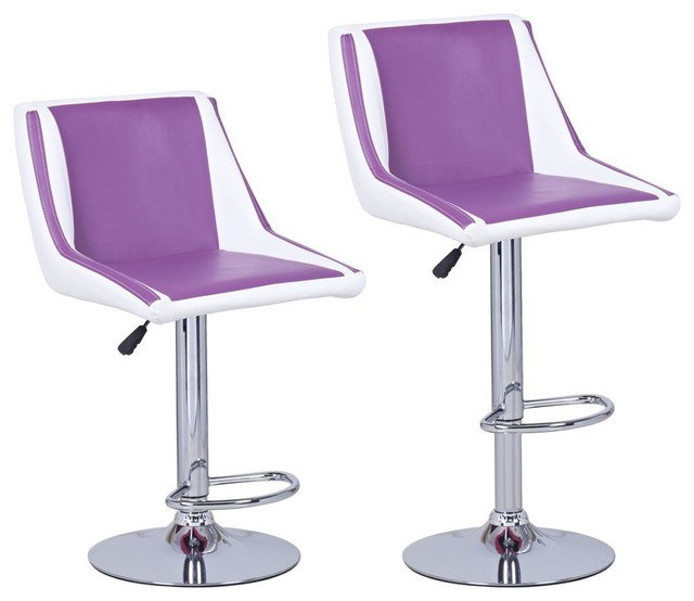 Adeco Purple White Hydraulic Lift Adjustable Barstool  : contemporary bar stools and counter stools from www.houzz.com size 640 x 554 jpeg 38kB