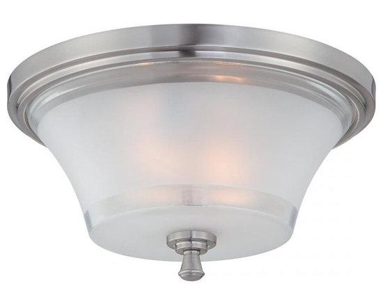 Joshua Marshal - Steel Niccolo 2 Light Flush Mount Ceiling Fixture - Finish: Polished Steel