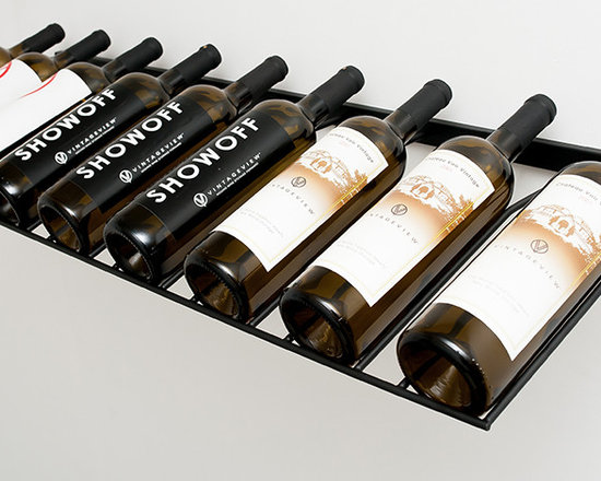 VintageView 9 Bottle Presentation Wine Rack - Decorative horizontal racking for nine (9) 750ml wine bottles. Great racking for busy wine & liquor stores with limited shelving space. These racks are durable and easy to install. Affordable and efficient metal wine rack suitable for any home and business.