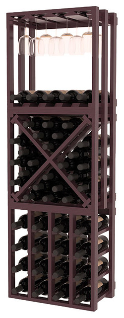 Lattice Stacking Cube - 3 Piece Set in Pine with Burgundy Stain + Satin Finish traditional-wine-racks