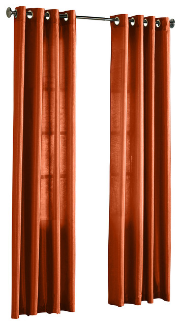 Hlc Me Pair Of Faux Silk Grommet Curtain Panels Terra Orange 54 X 95 Traditional