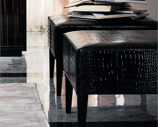 Rossetto Divine Pouf in Black - Rosssetto features crocodile embossed leather effect black pouf. This upholstered pouf provides a unique and comfortable solution for sitting.