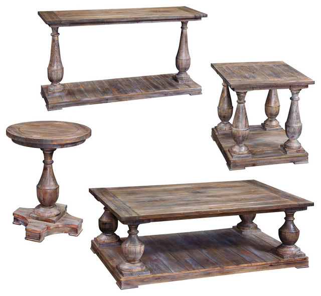 Bassett Mirror T2618 Hitchcock 4 Piece Cocktail Table Set Farmhouse Coffee Tables By