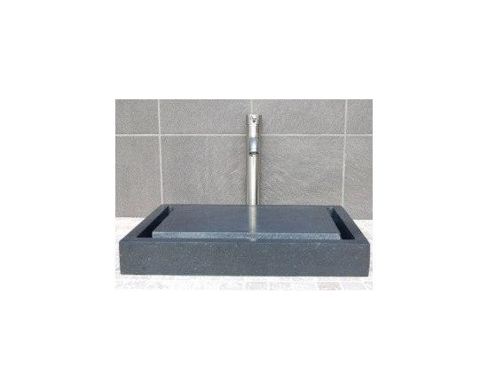 Asian Style Bathroom - Eden Bath EB_S006BA-H Stone Vessel Rectangular Infinity Pool Sink in Honed Black Basalt