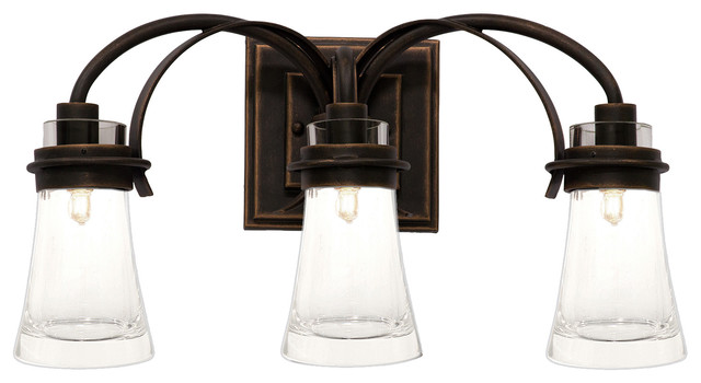 Vanity Lights Farmhouse : KALCO Lighting 2913AC Dover Antique Copper 3 Light Vanity - Farmhouse - Bathroom Vanity Lighting