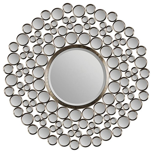 large beveled round mirror eclectic wall mirrors by