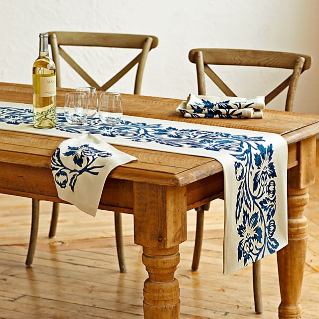 Vine Block Print Table Runner contemporary-table-runners