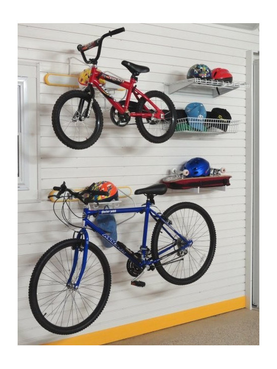 """GarageTek Duo Bike Lifestyle Kit - The GT575 Duo Bike Lifestyle Kit with 24"""" Shelf on TekPanel brings together bike racks, shallow baskets and shelves to make this the ultimate storage space for your bikes. The kit is designed to be used in a space of 5ft w x 8ft h."""
