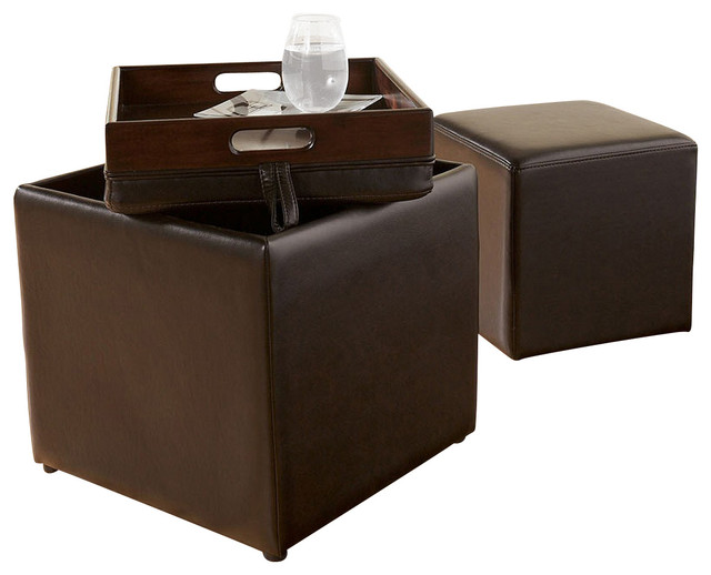 cubit storage ottoman w tray chocolate modern footstools and ottomans by lampsusa. Black Bedroom Furniture Sets. Home Design Ideas