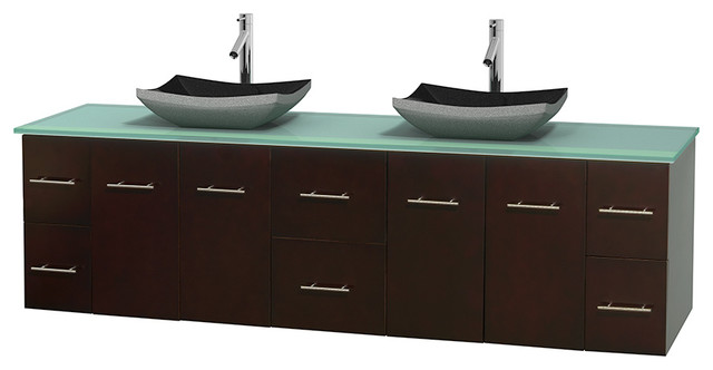 Centra Bathroom Vanity in Espresso,GN Glass Top,Altair Black Sinks,No Mir modern-bathroom-vanities-and-sink-consoles