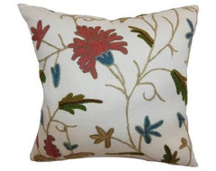 The Pillow Collection Silvia Floral Pillow - Rust Blue modern pillows