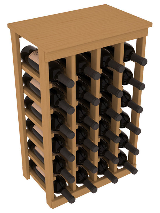 Wine Racks America - 24 Bottle Kitchen Wine Rack in Ponderosa Pine, Oak Stain - Petite but strong, this small wine rack is the best choice for converting tiny areas into big wine storage. The solid wood top excels as a table for wine accessories, small plants, or whatever benefits the location. Store 2 cases of wine in a space smaller than most televisions!