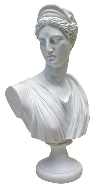 Diana Greek Bonded Marble Resin Sculptural Bust - Victorian - Decorative Objects And Figurines ...