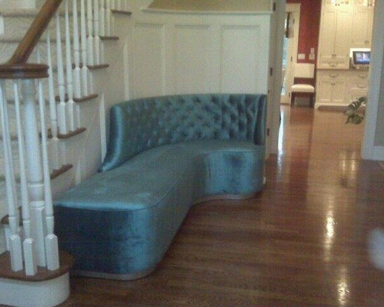 Kostas Upholstery Custom Made Furniture - Custom bench seat made by our shop for a client's home just outside New York City in Darien, Connecticut. $3800