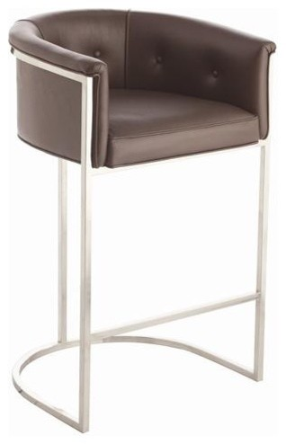 Arteriors Calvin Top Grain Polished Nickel Barstool traditional-bar-stools-and-counter-stools