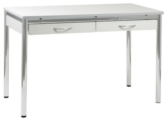 Laurence Modern White Leather and Chrome Adjustable L-Desk - Contemporary - Desks And Hutches ...