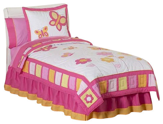 Butterfly Pink and Orange Bedding Set Twin (4-Piece) contemporary-kids-bedding