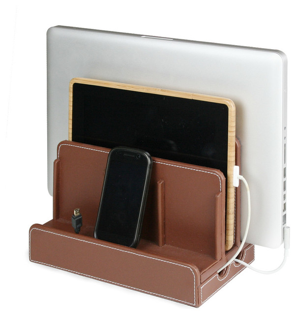 Faux Leather Multi Charging Station Brown Contemporary
