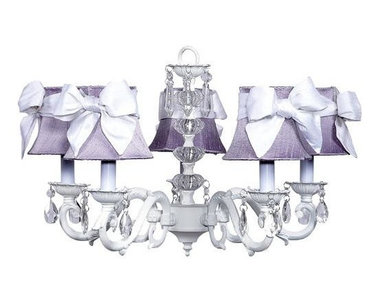 Belle & June - The Perfect Chandelier - This strikingly elegant 5-arm ivory chandelier features lavender dupioni silk shades, a dramatic crystal ball center, and hanging crystals throughout. Create a space fit for a princess and hang this in your little girls bedroom.