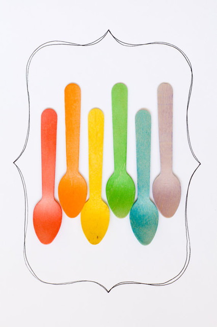 20 Wooden Ice Cream Spoons Rainbow Of Colors By Sucre Shop eclectic-disposable-utensils